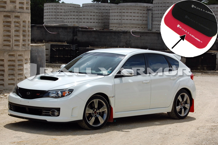 11 14 Wrx Hatch Red Mud Flap White Logo Rally Armor