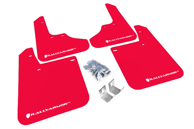 93-01 UR Impreza RED Rally Mud flap White logo