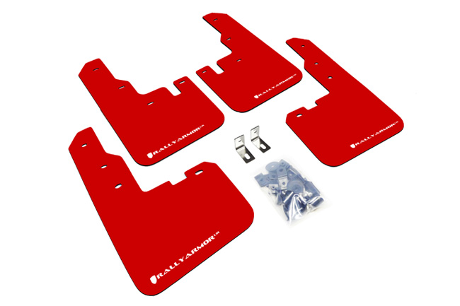 2013-15 Toyota  RAV4 Red Mud Flaps White Logo