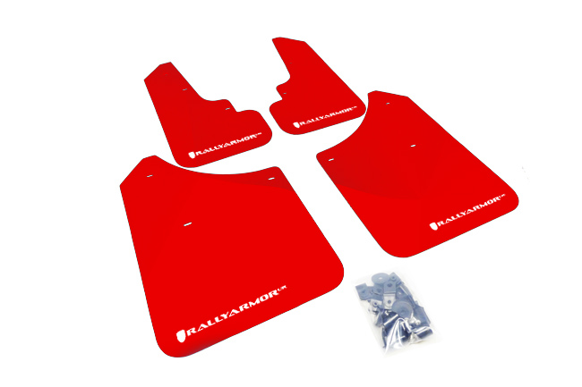 03-08 Forester Red UR Mud Flap White Logo