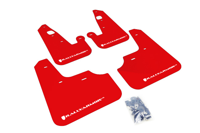 07-17 Lancer UR RED Mud flap White logo