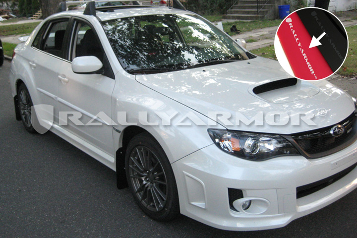 2011+ STI & WRX Sedan Red Mud flap White Logo